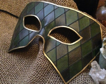 Emerald Harlequin Leather Mask