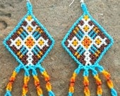 Mexican Huichol Beaded Ojo de Dios / Eye of God Earrings