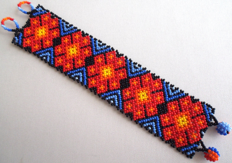 mexican huichol beaded peyote bracelet