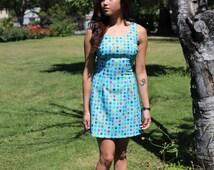 Sky Blue Floral Double Scoop Dress
