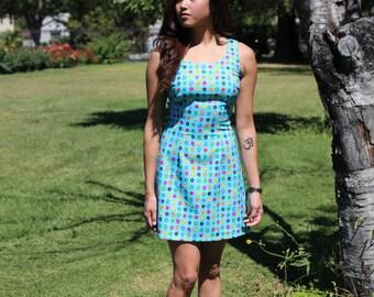 Sky Blue Floral Double Scoop Neck Dress