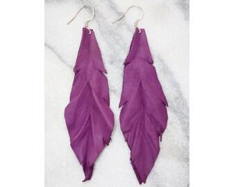 Leather Earrings    Violet