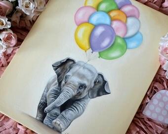 Elephant giclée print on canvas. Nursery wrapped canvas. Elephant nursery art. Elephant with balloons canvas print. Baby decor. Nursery art.