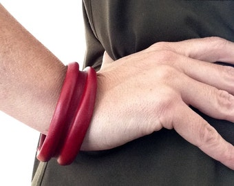 Bangle Leather Cuff Red