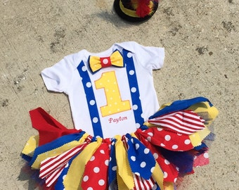 Circus outfit, Clown Outfit, carnival - personalized - shabby chic outfit, mini top hat, circus birthday