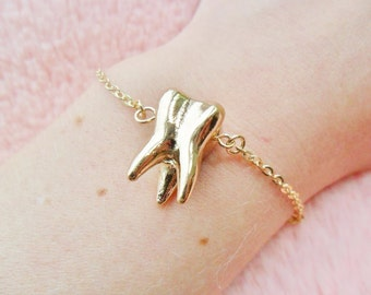Gold Tooth Teeth Dental Dentist Anatomical Anatomy Bracelet Jewellery Jewelry