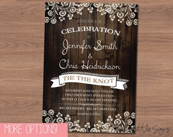 Country Lace Wedding Invitation Digital Download