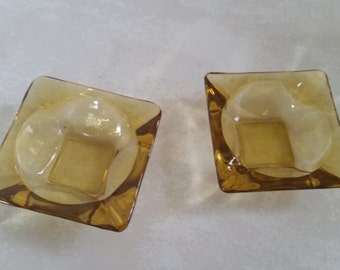 Mid century ashtrays small mustard yellow