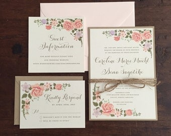 Vintage Wedding Inviations // Blush accents // Purchase this Deposit to Get Started