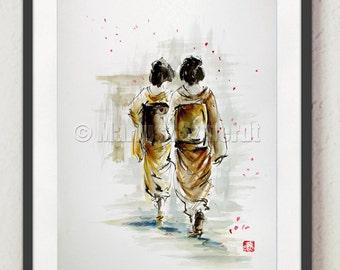 Geisha Japan Style Art Memoirs of a Geisha Poster Watercolor Painting Original Home Decor