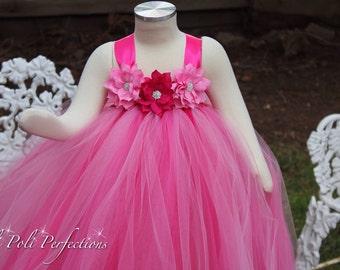 Pink Tutu Dress, Flower Girl Dress, Valentines Tutu, Pink Dress, Party Dress, Birthday Dress, Birthday Tutu,