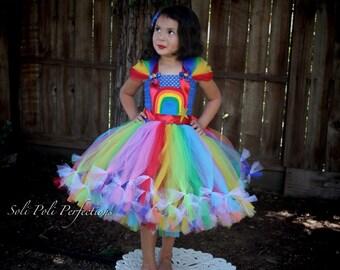 Rainbow Brite Inspired Tutu Dress-Rainbow Tutu Dress, Rainbow Bright, My Little Pony Inspired Tutu, Rainbow Dash Tutu Dress, Tutu Costume