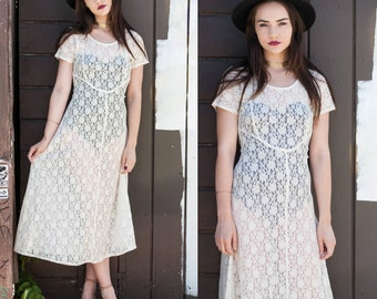 90's White Lace See Through Maxi Dress