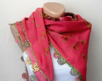 pink scarf  yellow flower green  brown cream cotton turkish yemeni oya handmade