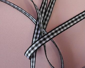 Quality Woven Edge 7mm Black Gingham Ribbon