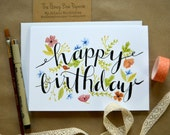 Watercolor Birthday Card/ Floral Birthday Card/ Painted Greeting Card- 5x7