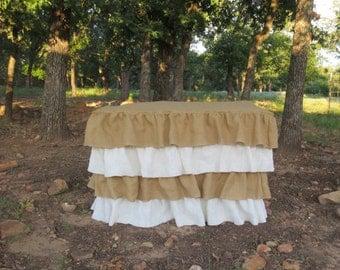 Items Similar To Tulle Ruffled Burlap Tablecloth