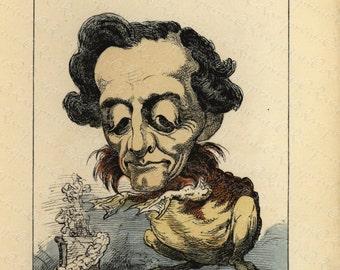 Original   Antique colored Political Lithograph from La Menagerie Imperiale - Le Crapaud