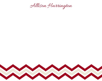 Personalized Crimson and Cream Chevron Stationery - 5x7 Note Cards