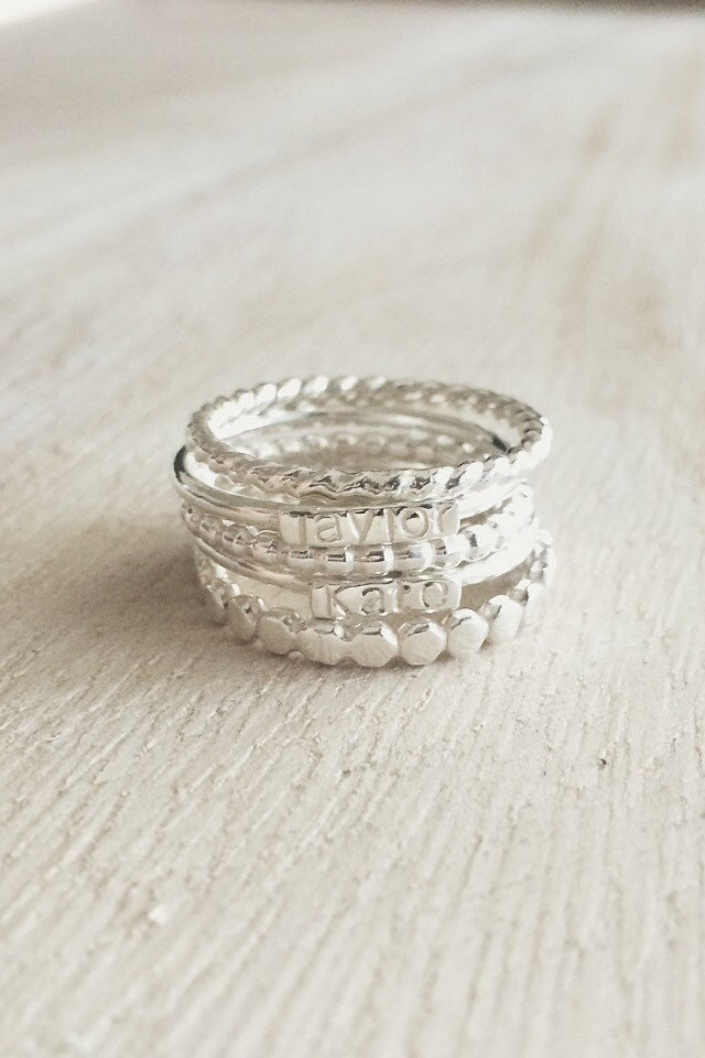 sterling silver stacking rings name rings sterling silver