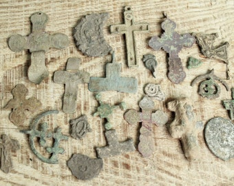 digging finds ... Lot of 20 antique crosses and parts of crosses and charms ... antique cross ... found objects ... antique jewelry  #9