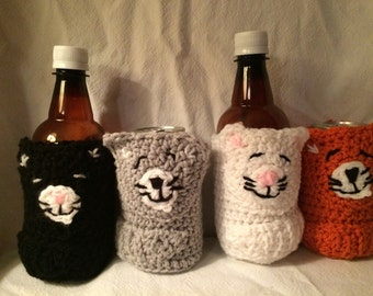 Can and bottle cozy- Sleepy Kitty set of 4