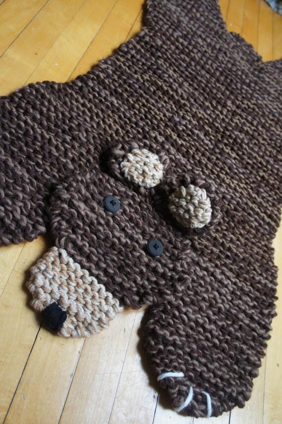 Bear Rug Knitting Pattern : Hand knit inch brown bear rug mat blanket spread
