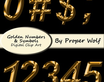 Gold Numbers and Symbols Clipart Set