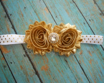 Baby Headband- Metallic Gold White Polka Dot Shabby Chic Flower Headband- Newborn, Infant, Toddler Girl Photo Prop and Hair Accessory
