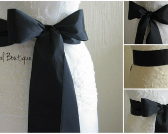 Black ribbon sash Black wedding sash Black dress sash Wedding ribbon sash Dress ribbon sash Black bridesmaids sash Black bridal sash