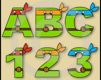 Ninja Turtles Alphabet Letters & Numbers Clip Art Graphics