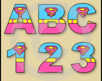 Supergirl Alphabet Letters & Numbers Clip Art Graphics