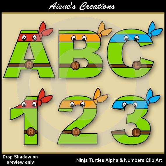 Ninja Turtles Alphabet Letters Amp Numbers Clip Art Graphics