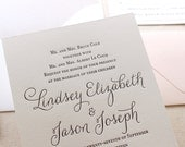 The Belle Suite - Taupe and Blush, Modern Letterpress Wedding Invitation Suite, Black, White, Script, Cursive, Calligraphy, Simple, Shimmer