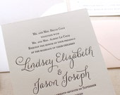 The Belle Suite - Taupe and Blush, Modern Letterpress Wedding Invitation Sample, Black, White, Script, Cursive, Calligraphy, Simple, Shimmer