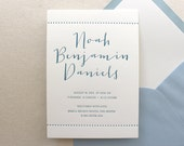 Letterpress Baby Birth Announcements - 50 flat cards with envelopes - 1 ink color - custom designed, blue, newborn, baby ba123