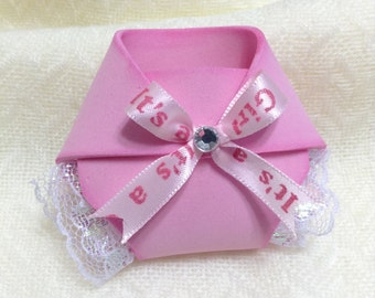 Pink baby diaper shower favors -  Baby shower favors - Set Of 12