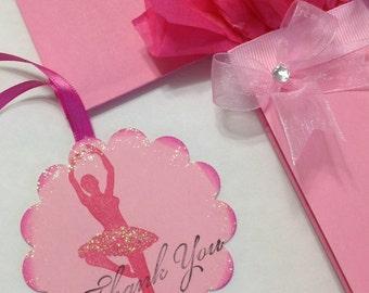 Ballerina Thank You Tags - Ballerina Party - Thank You Tags -  Girls Party Thank You Tags - Party Favor Tags - Set Of 10 - Free Shipping