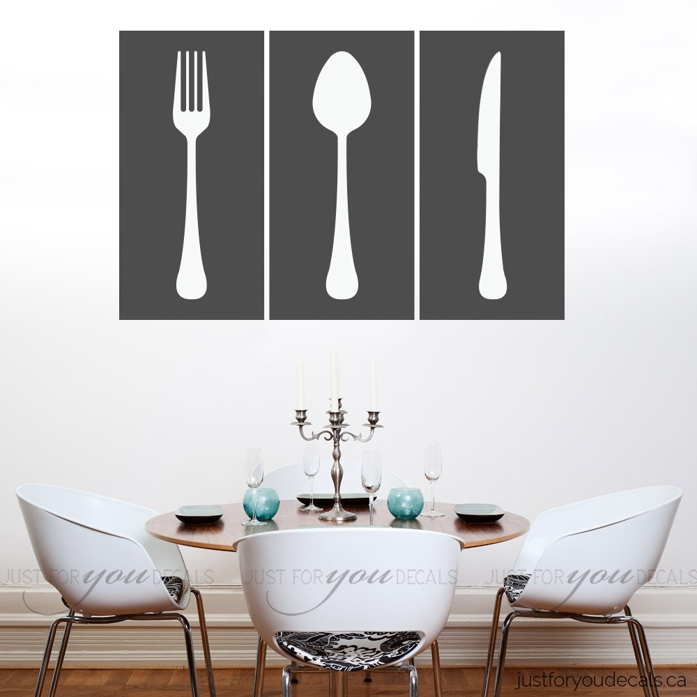 Kitchen Wall Decal Living Room Wall Decal Dining Room Wall - Wall stickers for dining roomdining room wall decals wall decal knife spoon fork wall decal