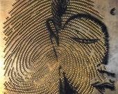 Contemporary Wall Sculpture Art - Buddha Face Fingerprint - Abstract Home Decor