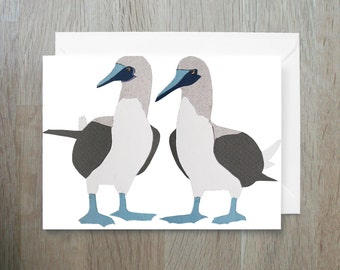 SALE - Blue Footed Boobies - Greeting Card - Endangered Species - Papercut - Bird Card