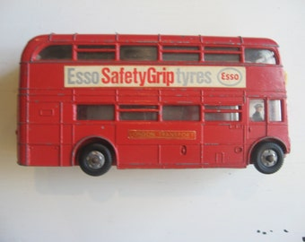 Vintage Dinky Toy Esso Safety Grip Tyres Double Decker Bus