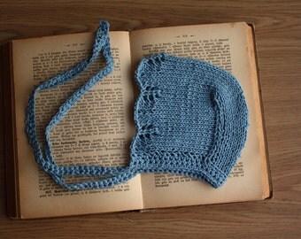 knit cotton bonnet, summer bonnet, autumn bonnet, spring bonnet, teal bonnet, dove grey bonnet, baby bonnet, newborn bonnet, toddler bonnet