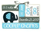 Elephant Baby Birth Stat Nursery baby name blocks, baby stats sign, new baby gift, new mom gift, gift for wife, birth announcement sign