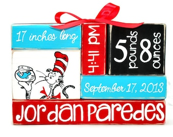 Dr. Seuss Cat In The Hat Nursery Baby Stat WoodenBlock Stack
