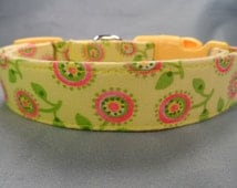 Pretty Pink Posey Flowers on Yellow Dog Collar