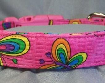 Bright Butterflies on Hot Pink Dog Collar