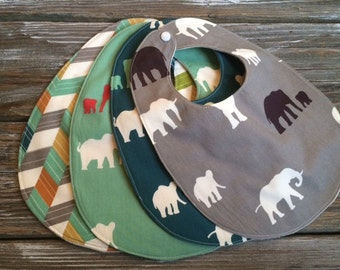 ORGANIC Bibs ~ Nature//Safari//Elephants//Ellie//Herringbone//Serengeti