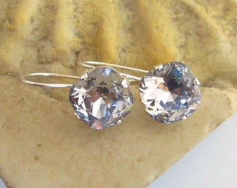 Smokey Mauve Swarovski Crystal and Silver Earrings