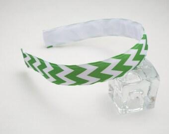 Green and White Chevron Hairband